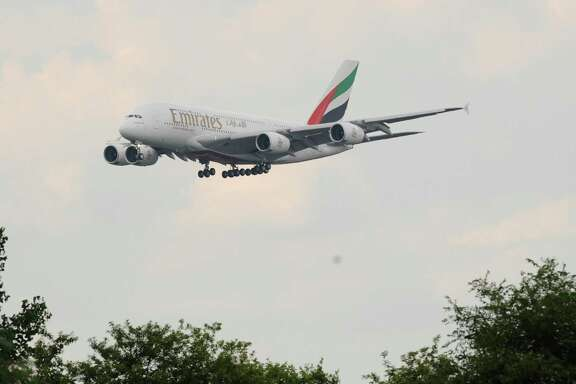 An A380 operated by Emirates Airlines approaches John F. Kennedy International Airport in New York.