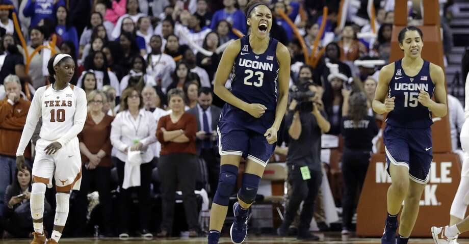 Connecticut forward Azura Stevens (23) celebrates the team's win over Texas in an NCAA college basketball game, Monday, Jan. 15, 2018, in Austin, Texas. (AP Photo/Eric Gay) Photo: Eric Gay/Associated Press