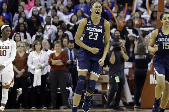 Connecticut forward Azura Stevens (23) celebrates the team's win over Texas in an NCAA college basketball game, Monday, Jan. 15, 2018, in Austin, Texas. (AP Photo/Eric Gay)