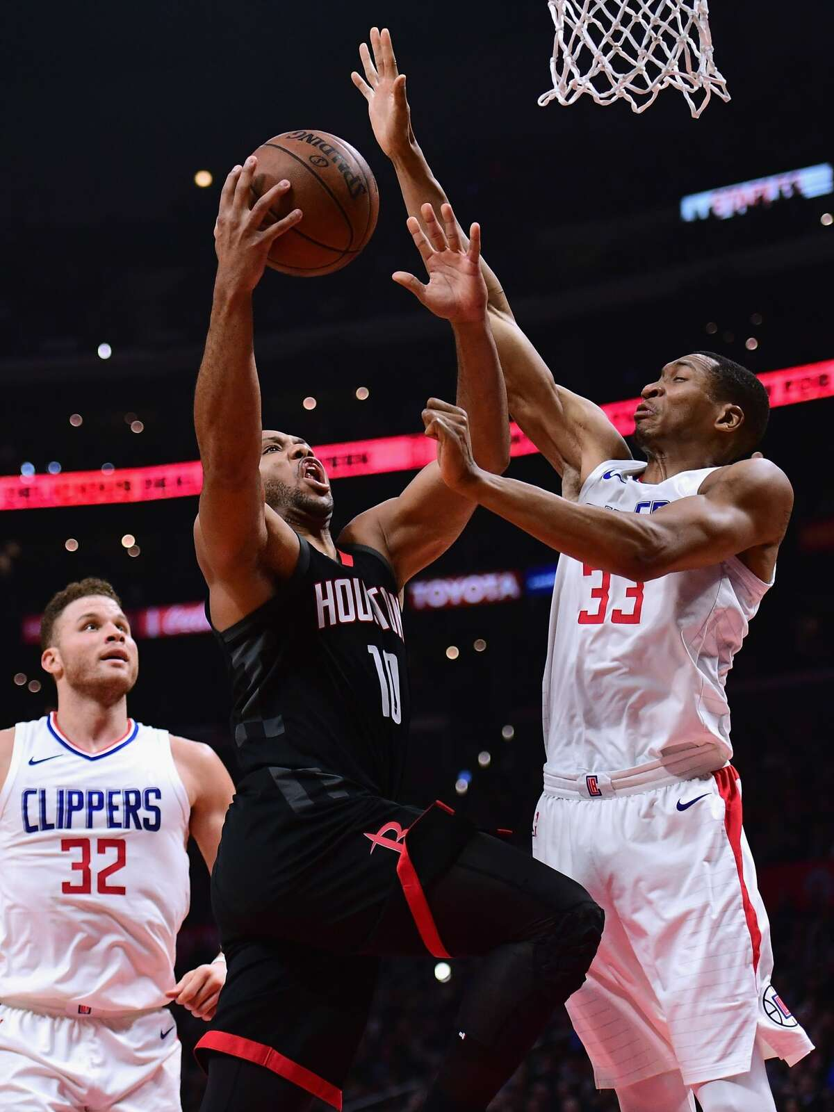 PHOTOS: 8 key moments that sparked Rockets-Clippers confrontation 1. With 3:32 left and the Clippers leading 106-98, Eric Gordon drove to the rim, only to have the Clippers' Wesley Johnson two-hand swat the ball against the backboard. The Rockets screamed for a goaltending, with replays showing the ball did hit the backboard before Johnson reached it.