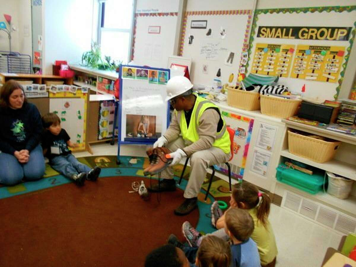 Children at Longview Early Childhood Center in the Midland 3 Head Start Inclusion program were treated to a visit from James McDaniel, senior safety specialist for Great Lakes Safety Training Center. (Photo provided)
