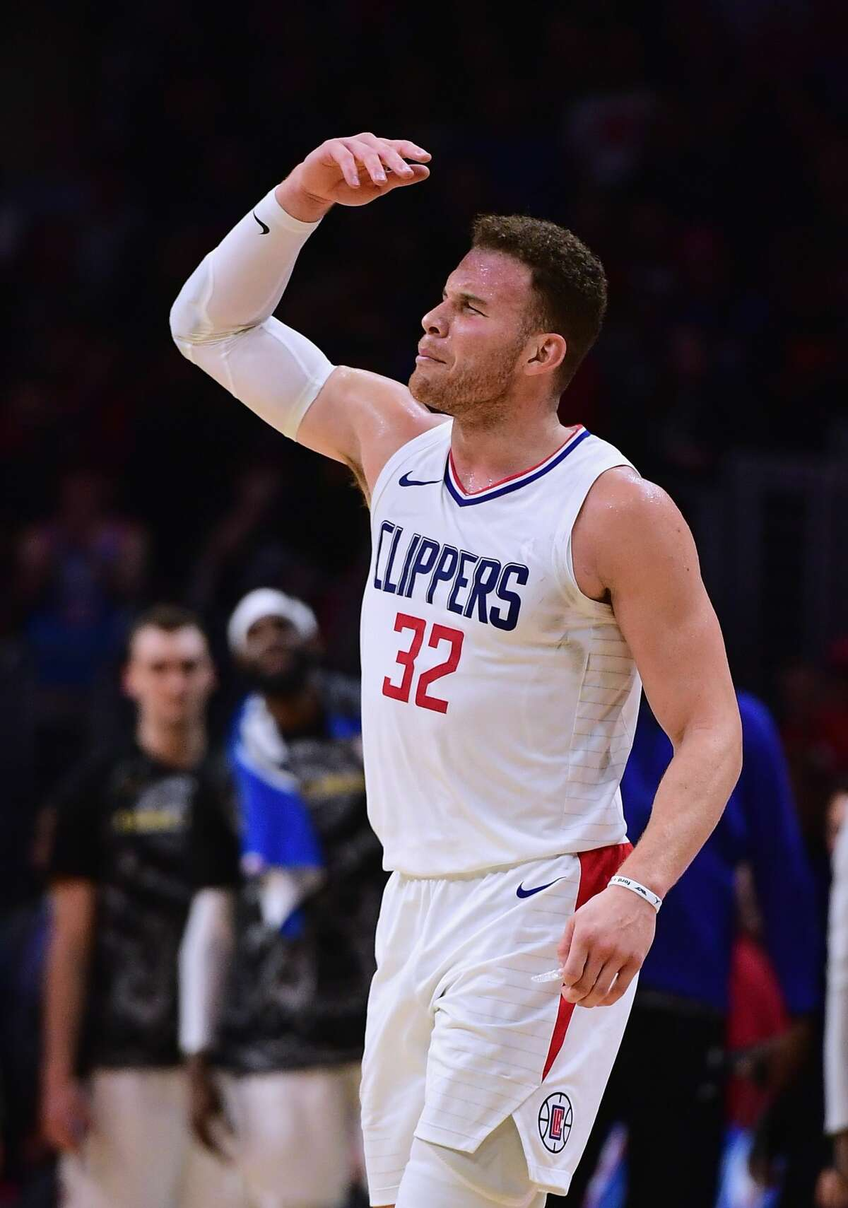 LOS ANGELES, CA - JANUARY 15: Blake Griffin #32 of the LA Clippers celebrates a Houston Rockets foul during a 113-102 Clipper win at Staples Center on January 15, 2018 in Los Angeles, California. (Photo by Harry How/Getty Images)