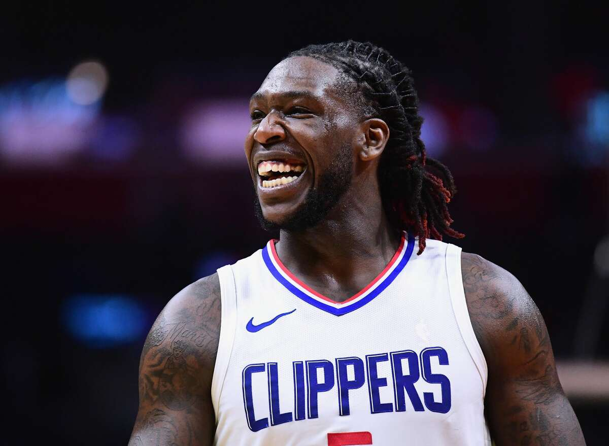 LOS ANGELES, CA - JANUARY 15: Montrezl Harrell #5 of the LA Clippers laughs during a 113-102 Clipper win over the Houston Rockets at Staples Center on January 15, 2018 in Los Angeles, California. (Photo by Harry How/Getty Images)