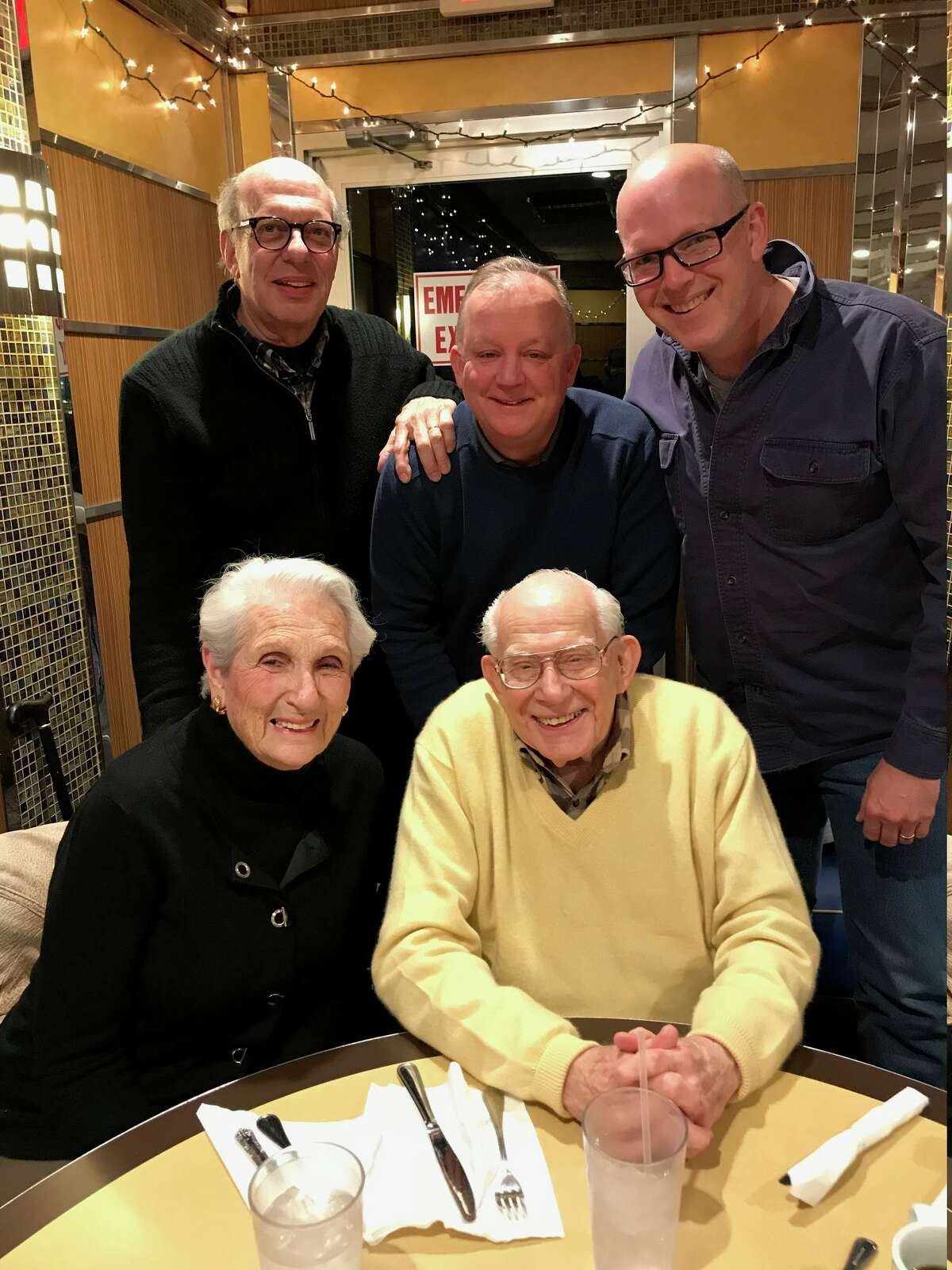 """At the Capital Diner in Guilderland discussing """"The Post"""":Anne and Harry Rosenfeld with (back row from left) Rob Brill, Paul Grondahl and Casey Seiler."""