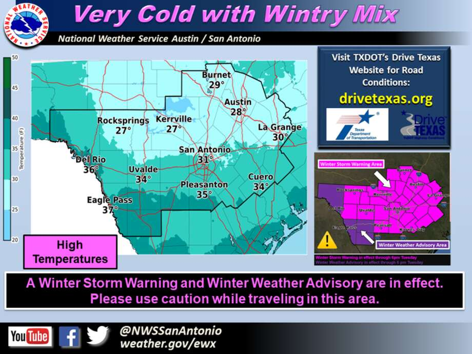"An ""arctic cold front"" moved through San Antonio early Tuesday, Jan. 16, 2018, bringing freezing rain and the possibility of sleet across the area, meteorologists said. Photo: NWS"
