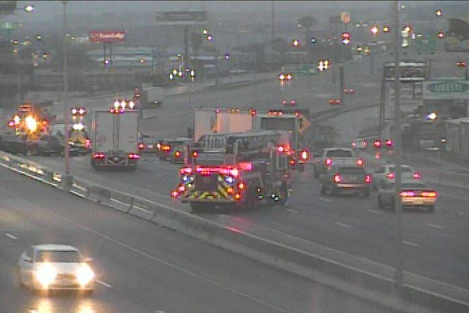 Multiple crashes were reported Tuesday morning at Interstate 35 and Thousand Oaks Boulevard.