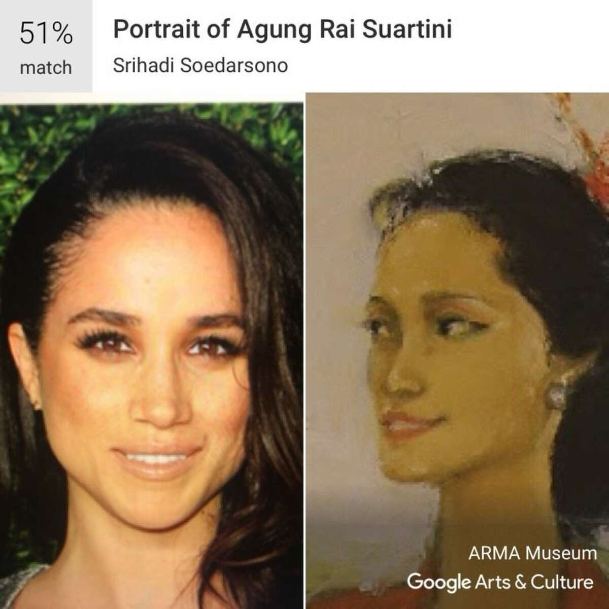 Google's Arts and Culture App compares your selfies to classic works of art and provides the best match, like this image of Meghan Markle to Srihadi Soedarsono's