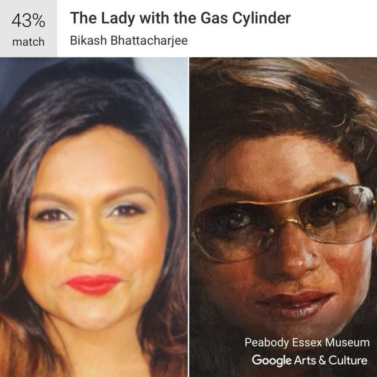 Google's Arts and Culture App compares your selfies to classic works of art and provides the best match, like this image of Mindy Kaling matched to Bikash Bhattacharjee's