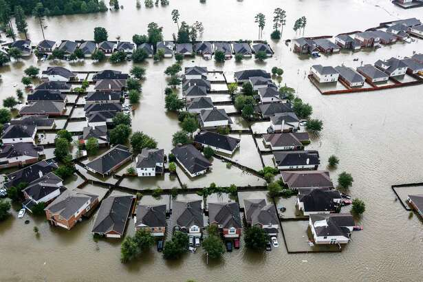 A neighborhood is inundated by floodwaters from Hurricane Harvey.