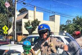 Officer Martin Lendway, seen here at a CHP event, was pinned under his truck in a traffic crash.