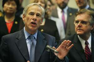 Texas Gov. Greg Abbott speaks to the media to announce the grant funding for rifle resistant vests for Texas police officers at Dallas Police Association Headquarters in Dallas on Tuesday, Jan. 9, 2018. The police officers ambushed in Dallas by a gunman during a 2016 racial equality march were wearing bulletproof vests, but they weren't strong enough to resist rifle fire. (Rose Baca/The Dallas Morning News)