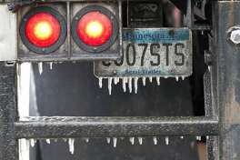 Icicles hand on an 18-wheeler as residents woke up to the effects of a winter storm that brought freezing rain and ice through Montgomery County, Tuesday, Jan. 16, 2018. The National Weather Service issued a Winter Storm Warning for southeast Texas until midnight Wednesday.