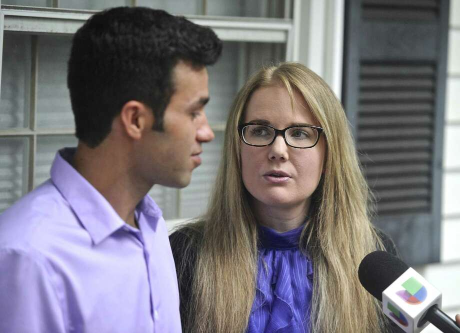Joel Colindrés and his wife, Samantha, talk with the media at their New Fairfield home after meeting with Senator Richard Blumenthal and Representative Elizabeth Esty on Monday, August 7, 2017, in New Fairfield, Conn. Photo: H John Voorhees III / Hearst Connecticut Media / The News-Times