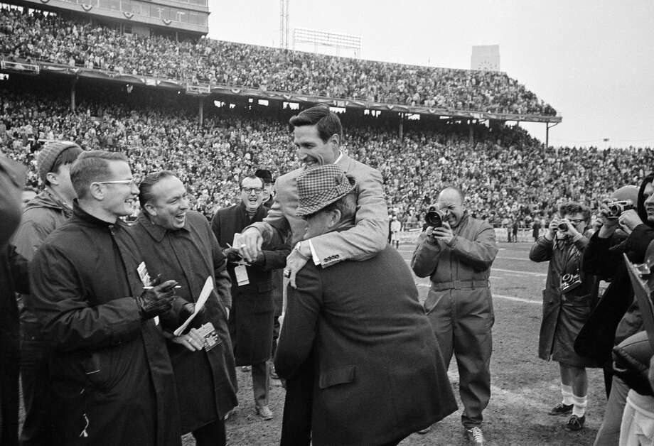 "PHOTOS: Wild happenings in sports 50 years agoJan. 1 – Texas A&M upsets Alabama, 20-16 in the Cotton Bowl as Crimson Tide coach Paul ""Bear"" Bryant gives an impromptu victory ride to A&M coach Gene Stallings, whom he coached at A&M in the mid-1950s.Browse through the gallery to relive the big sports events of 1968. Photo: AP"