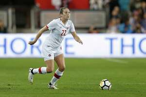 SAN JOSE, CA - NOVEMBER 12: Lindsay Agnew #22 of Canada in action during a friendly match against the United States at Avaya Stadium on November 12, 2017 in San Jose, California.
