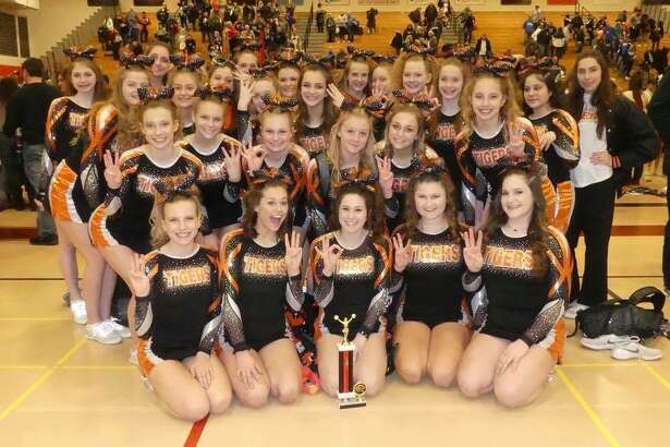 Edwardsville High School Varsity Cheerleaders placed third in their division at the LWC Cheer Invitational on Saturday.