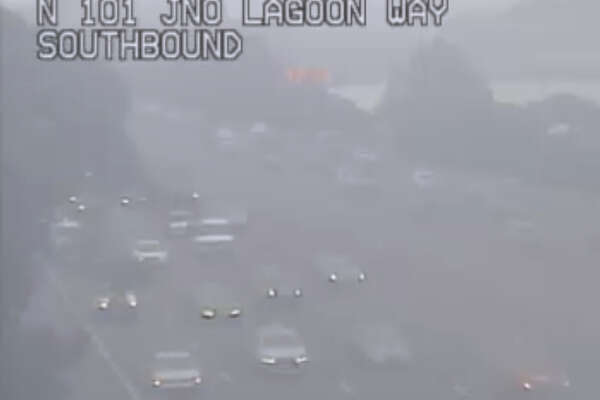 The view of traffic on Highway 101 near Lagoon Way. Heavy fog slowed the commute across the Bay Area on Tuesday, January 16, 2018.