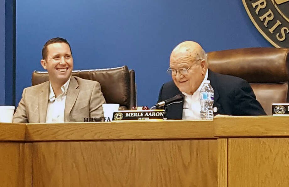 Jason Stuebe (left), is announced as the new city manager of Humble by Mayor Merle Aaron (right), during a city council meeting on Monday, Jan. 15. Photo: Melanie Feuk