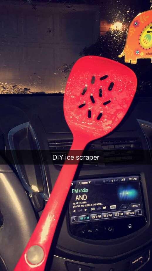Victoria Escamilla, in San Antonio, used a spatula Photo: Twitter.com