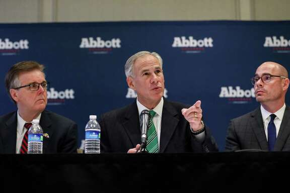 Governor Greg Abbott, center, Lt. Gov. Dan Patrick, left, and state Rep. Dennis Bonnen, right, are seen during a press conference about a new property tax proposal, at the Westin Galleria hotel, Tuesday, Jan. 16, 2018, in Houston.