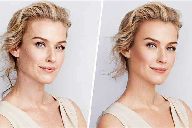 A before-and-after photo provided by CVS shows how photo manipulation  works. This was used in a previous campaign, but moving forward CVS is  committed to representing unaltered, diverse imagery for its beauty  campaigns.  Courtesy CVS