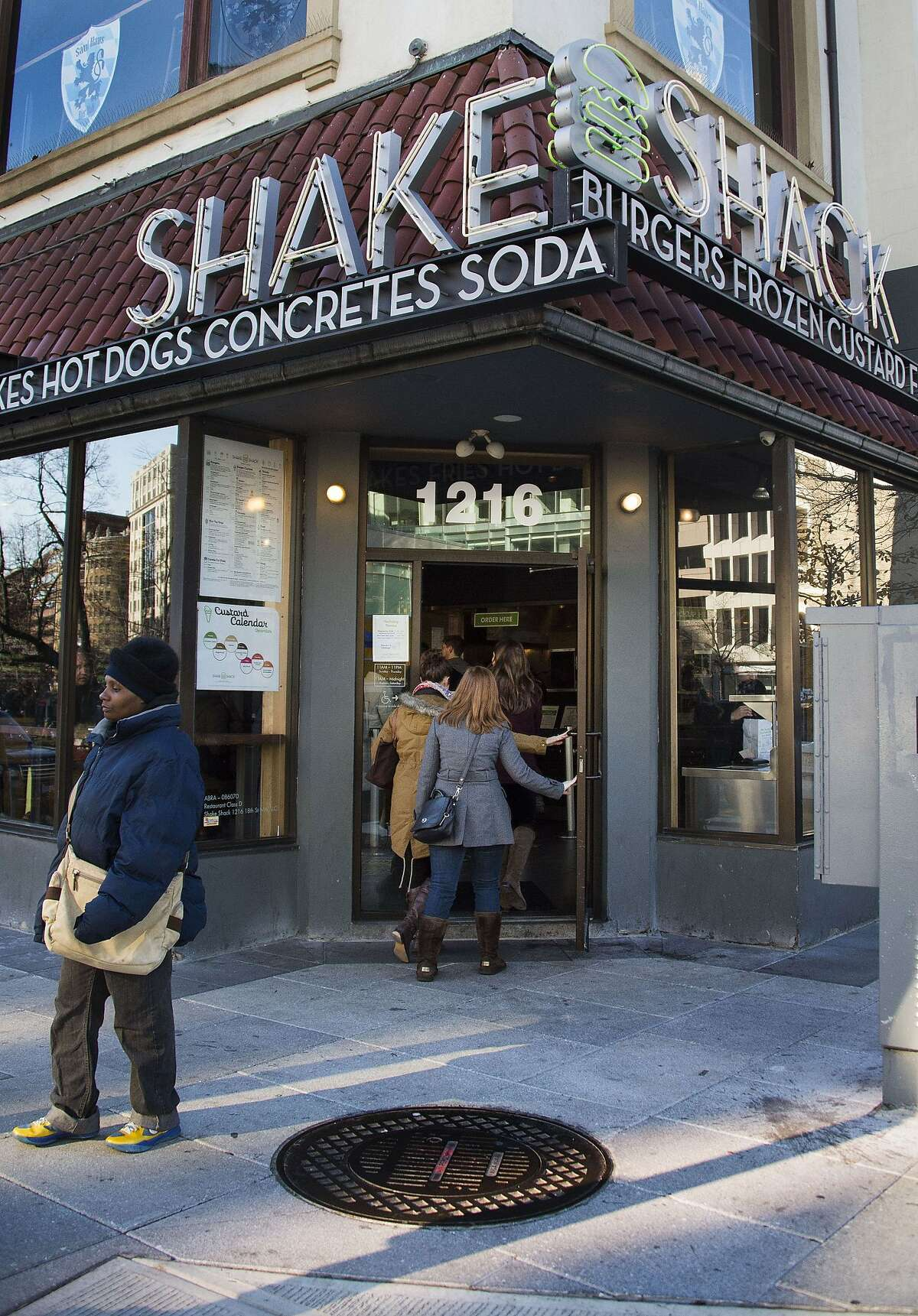 A general view of the restaurant Shake Shack in Washington, DC, December 30, 2014. The fast-food chain, started by celebrity restaurateur Danny Meyer, filed to go public on December 29, 2014. Backed by private equity firm Leonard Green & Partners, Shake Shack is a self-described modern day roadside burger stand whose vision is to stand for something good. AFP PHOTO/JIM WATSONJIM WATSON/AFP/Getty Images