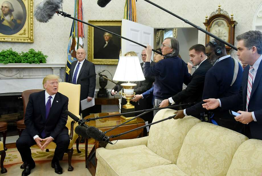 U.S. President Donald Trump answers questions during a meeting with President Nursultan Nazarbayev of Kazakhstan in the Oval Office at the White House January 16, 2018 in Washington, DC. (Photo by Olivier Douliery-Pool/Getty Images) Photo: Pool, Getty Images