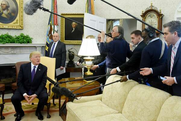 WASHINGTON, D.C. - JANUARY 16: U.S. President Donald Trump answers questions during a meeting with President Nursultan Nazarbayev of Kazakhstan in the Oval Office at the White House January 16, 2018 in Washington, DC. (Photo by Olivier Douliery-Pool/Getty Images)