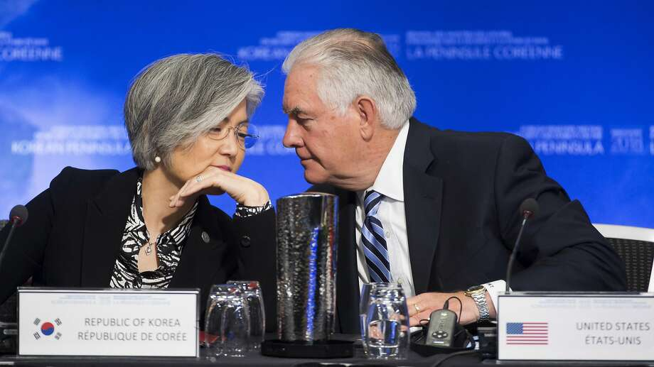 United States Secretary of State Rex Tillerson speaks with South Korean Foreign Minister Kang Kyung-wha during a meeting on North Korea in Vancouver, British Columbia, Tuesday, Jan. 16, 2018. Officials are discussing sanctions, preventing the spread of weapons and diplomatic options. (Jonathan Hayward/The Canadian Press via AP) Photo: JONATHAN HAYWARD, Associated Press