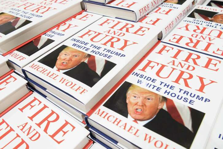 "LONDON, ENGLAND - JANUARY 09:  One of the first consignments of copies of ""Fire and Fury"", Michael Wolff's book on President Trump's Presidency is displayed at Waterstones, Piccadilly on January 9, 2018 in London, England.  The book is already a bestseller, with over a million orders in the US alone.  (Photo by Leon Neal/Getty Images)"