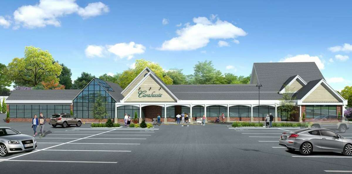 A rendering of Caraluzzi's proposed expansion of its food mart in downtown Bethel, Conn., as drawn by Danbury-based Seventy2architects.
