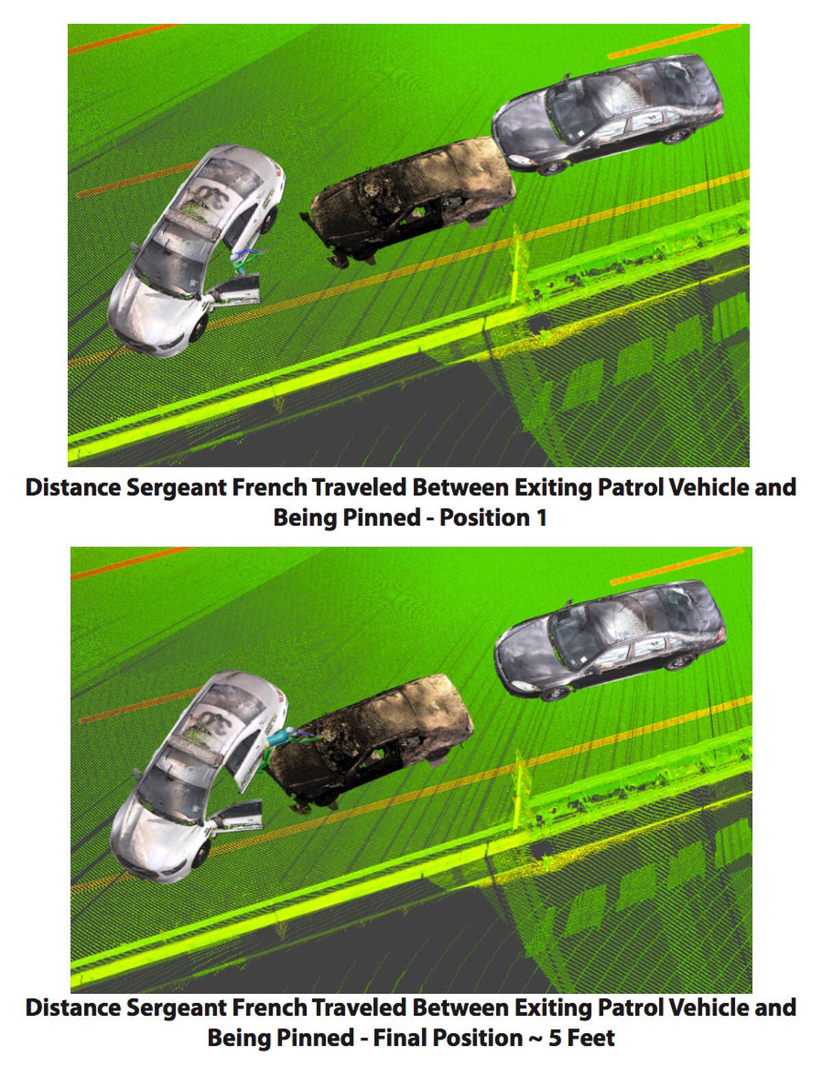 One graphic showing distance Sgt. Randall French traveled between exiting patrol vehicle and being pinned in April 2016 from Office of Attorney General's report on the investigation into the death of Edson Thevenin.