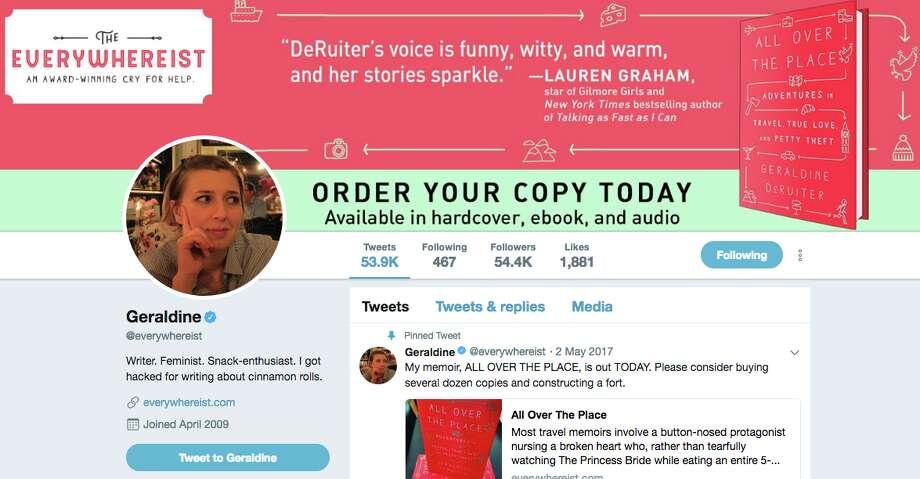 Geraldine DeRuiter's Twitter page looks like this now... Photo: Screenshot/Twitter