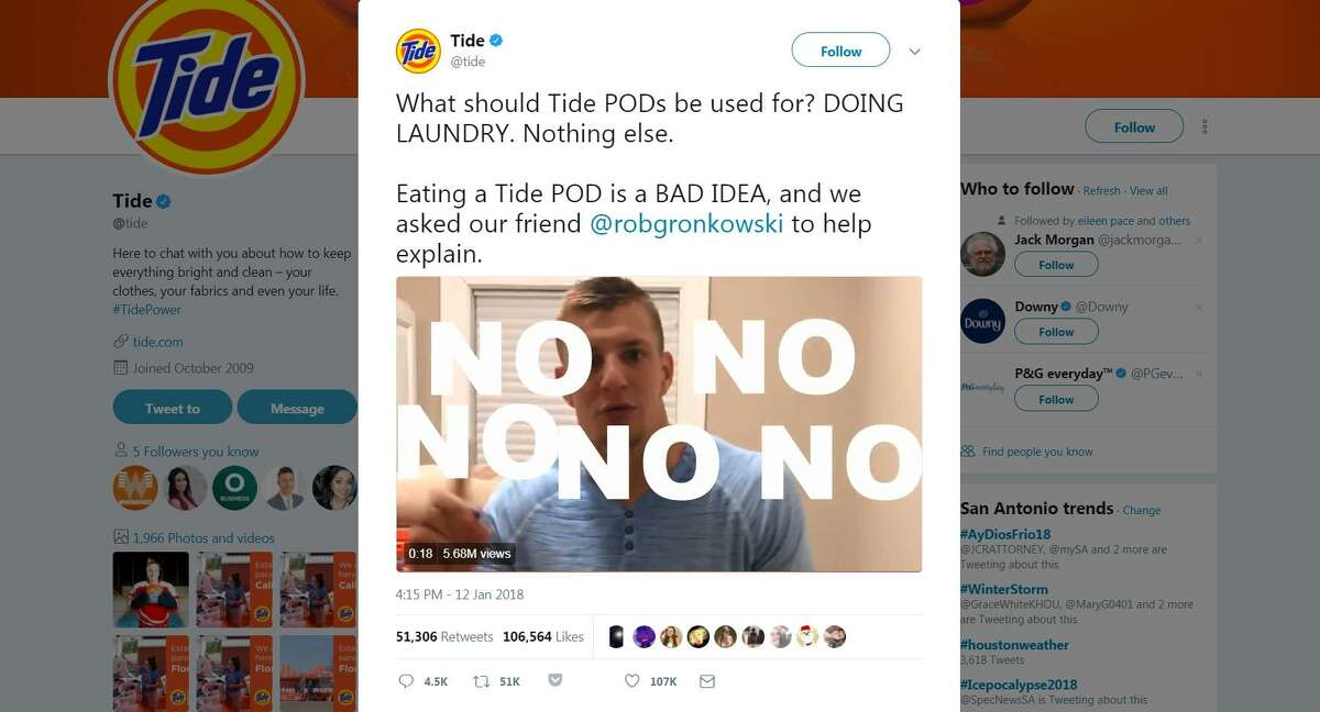 """The so-called """"Tide Pod Challenge"""" features youth daring to bite into a laundry detergent pod and post the video on social media. Tide posted a PSA video on its Twitter account with New England Patriots star Rob Gronkowski repeating a finger-wagging """"No"""" to the idea of eating Tide Pods. The video has more than 5 million views."""
