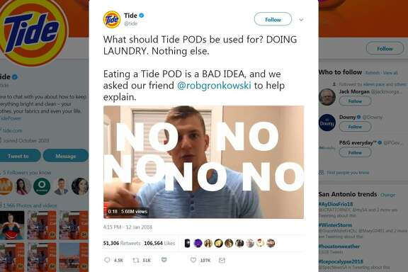 "The so-called ""Tide Pod Challenge"" features youth daring to bite into a laundry detergent pod and post the video on social media. Tide posted a PSA video on its Twitter account with New England Patriots star Rob Gronkowski repeating a finger-wagging ""No"" to the idea of eating Tide Pods. The video has more than 5 million views."