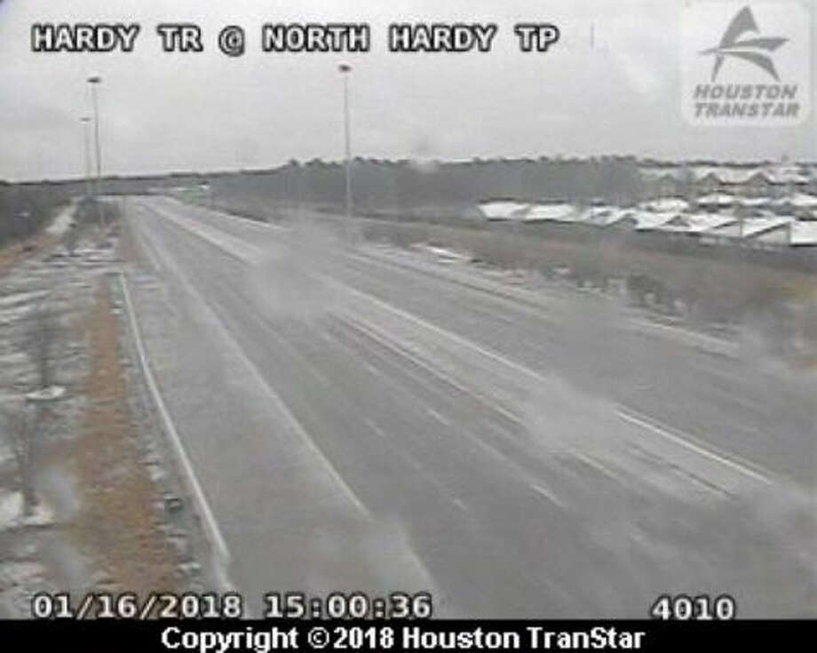 The city of Houston experienced a winter storm that swept across the region on Tuesday, Jan. 16, 2018. The frigid temperatures dropped into the 20s and as more frozen rain fell, ice formed on overpasses causing Houston's typically congested roads to be frighteningly abandoned. Photo: Houston TransStar
