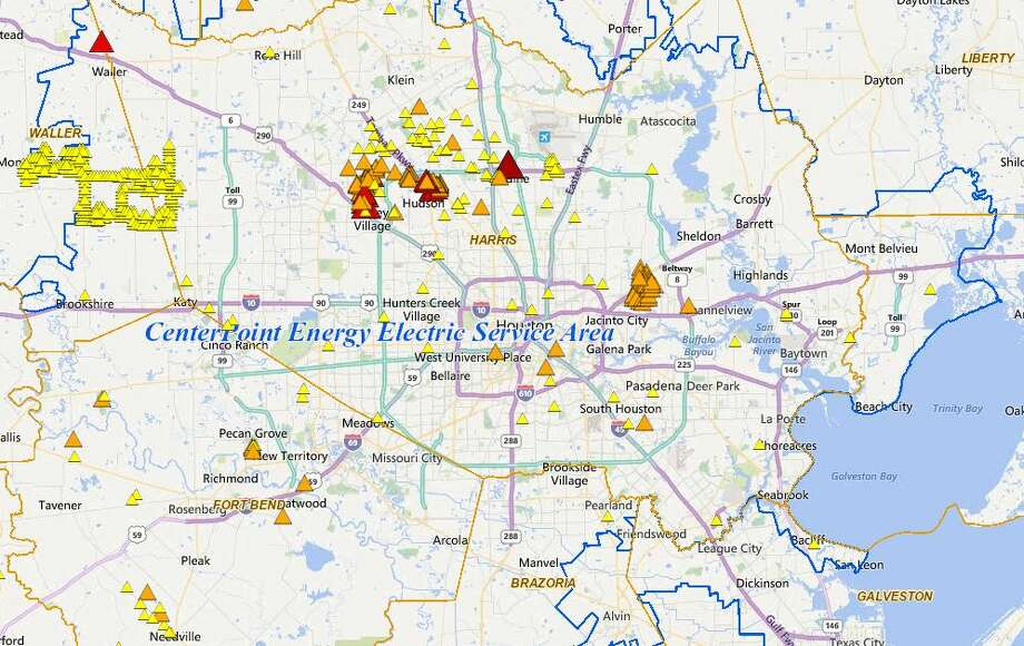 CenterPoint Energy is reporting that 21,411 homes and businesses are in the dark as of 3:30 p.m., according to the company's online outage tracker. Most of the outages are in the Greenspoint and Cypress areas, while others are being reported in Wharton, Matagorda and Brazoria Counties. Photo: CenterPoint Energy
