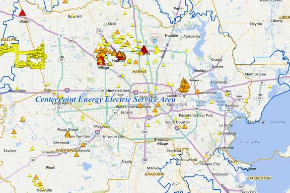 CenterPoint Energy is reporting that 21,411 homes and businesses are in the dark as of 3:30 p.m., according to the company's online outage tracker. Most of the outages are in the Greenspoint and Cypress areas, while others are being reported in Wharton, Matagorda and Brazoria Counties.