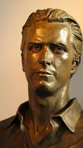 The bronze cast of the bust of former Mayor Gavin Newsom by Bruce Wolfe. The bust is an intended gift to the City by ArtCare, a nonprofit organization.
