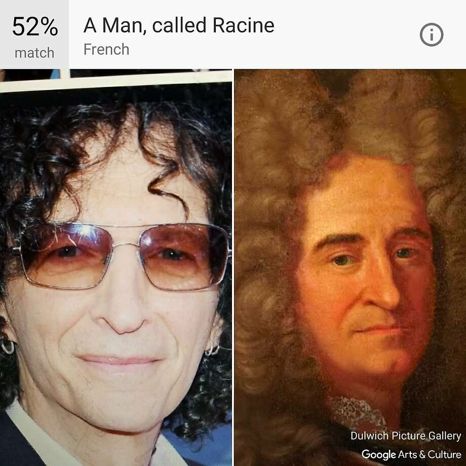 "Google's Arts and Culture App compares your selfies to classic works of art and provides the best match, like this image of Howard Stern compared to ""A Man, called Racine."" Photo: Dulwich Picture Gallery/Google"