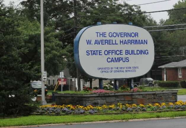 An entrance sign for the Harriman State Office Campus in Albany. (File photograph)