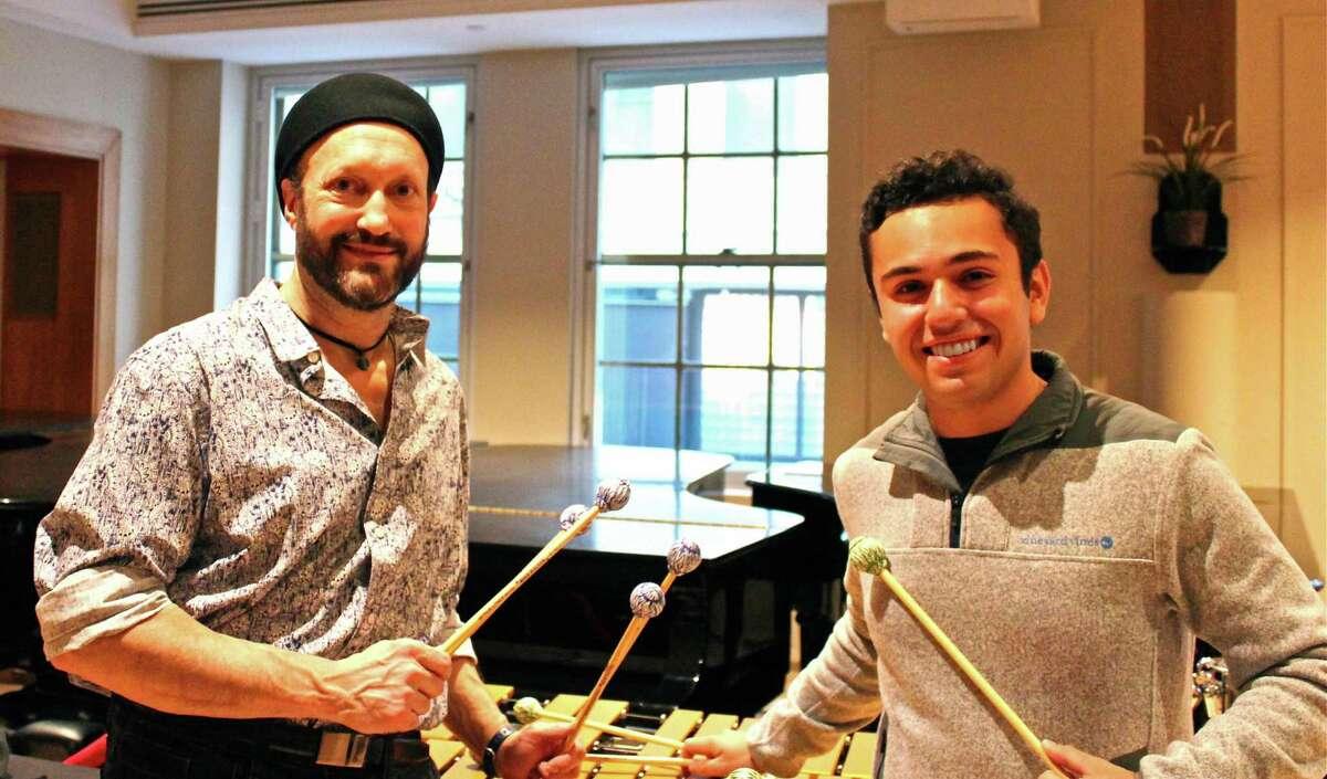 Wilton percussionist Arthur Lipner and Weston High School senior Stephen Blinder.