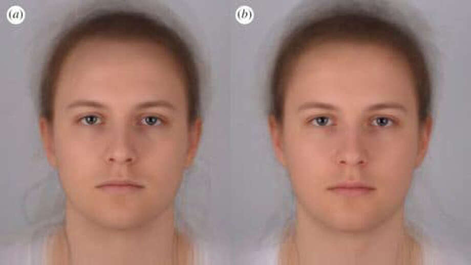 "Scientists combined 16 photo portraits into one composite image. On the left, the composite ""sick"" face, and on the right, the composite healthy one. MUST CREDIT: Audrey Henderson - St. Andrews University. Photo: Audrey Henderson - St. Andrews U"
