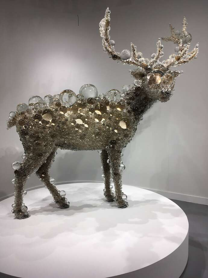 """Kohei Nawa's """"PixCell-Maral Deer,"""" which can be seen at Pace Gallery in Palo Alto Jan 18 Feb 25, 2018, was a selfie magnet at the Fog Art + Design fair Jan. 11-14. Photo: Laura Compton, The Chronicle"""