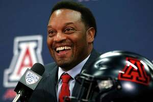 New University of Arizona Wildcats head football coach Kevin Sumlin speaks during his introductory press conference at the Lowell-Stevens Football Facility on Tuesday,  Jan. 16, 2018, in Tucson, Ariz. Sumlin succeeds Rich Rodriguez, who was fired in December 2017. (Mike Christy/Arizona Daily Star via AP)