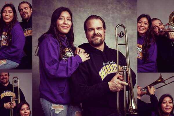 """""""Stranger Things"""" star David Harbour posed in a series of hilarious yearbook photos with a Northern California high school student after she beat his Twitter challenge."""