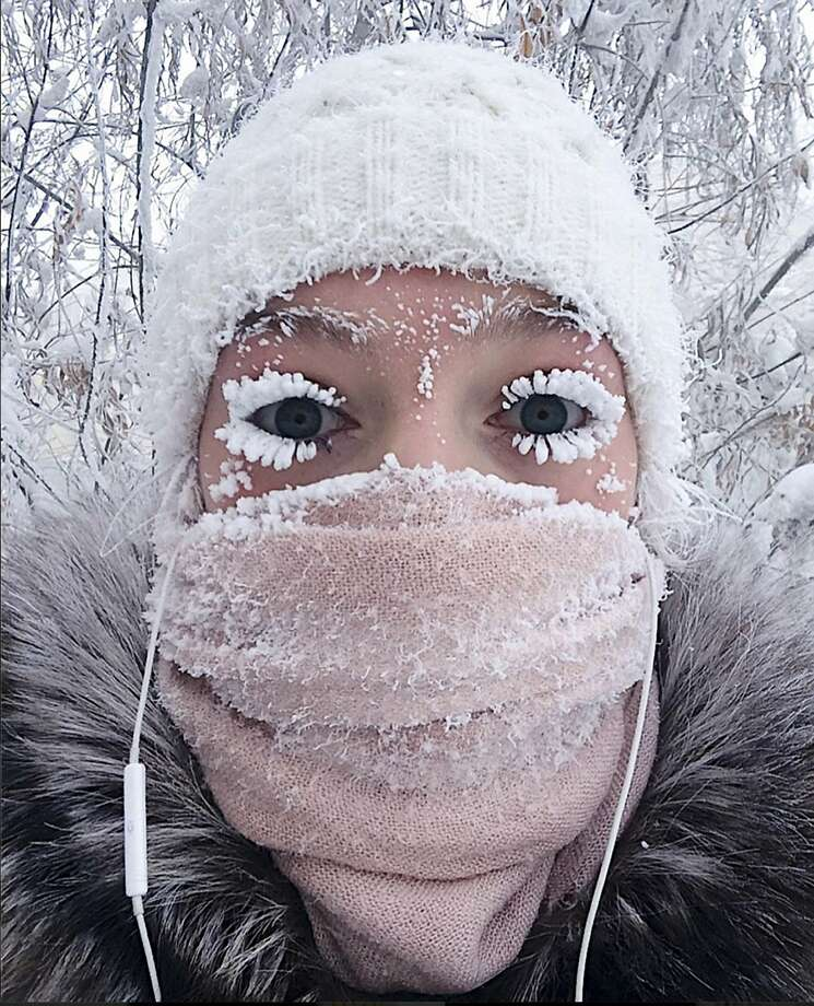 In this photo taken on Sunday, Jan. 14, 2018, Anastasia Gruzdeva poses for selfie as the Temperature dropped to about -50 degrees (-58 degrees Fahrenheit) in Yakutsk, Russia. Temperatures in the remote, diamond-rich Russian region of Yakutia have dropped to near-record lows, plunging to -67 degrees Centigrade (-88.6 degrees Fahrenheit) in some areas. (sakhalife.ru photo via AP) Photo: Anastasia Gruzdeva, Associated Press