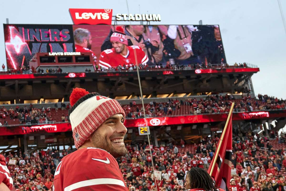 SANTA CLARA, CA - DECEMBER 24: San Francisco 49ers quarterback Jimmy Garoppolo (10) celebrates with fans after an NFL game between the Jacksonville Jaguars and the San Francisco 49ers at Levi's Stadium on December 24, 2017 in Santa Clara, California. (Photo by Robin Alam/Icon Sportswire via Getty Images)