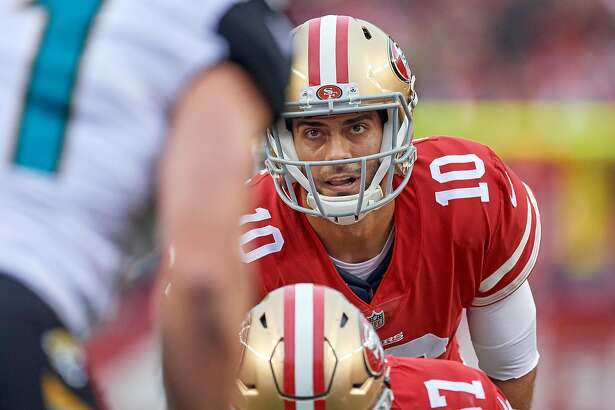SANTA CLARA, CA - DECEMBER 24: San Francisco 49ers quarterback Jimmy Garoppolo (10) gets ready to take a snap from San Francisco 49ers center Daniel Kilgore (67) during an NFL game between the Jacksonville Jaguars and the San Francisco 49ers at Levi's Stadium on December 24, 2017 in Santa Clara, California. (Photo by Robin Alam/Icon Sportswire via Getty Images)
