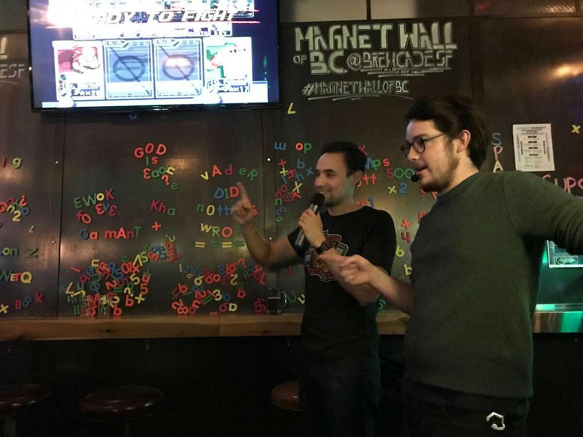 Derek Lipkin (left) and Calvin Albright at Brewcade.